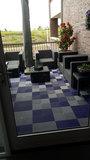 Balkontegels antislip grijs en blauw